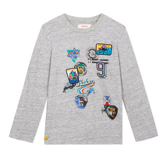 Grey mottled T-shirt with badges and emblems