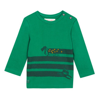Lichen green T-shirt with cats and dogs motif