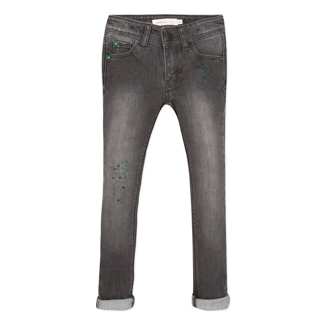 Slim jeans in grey denim and sequins