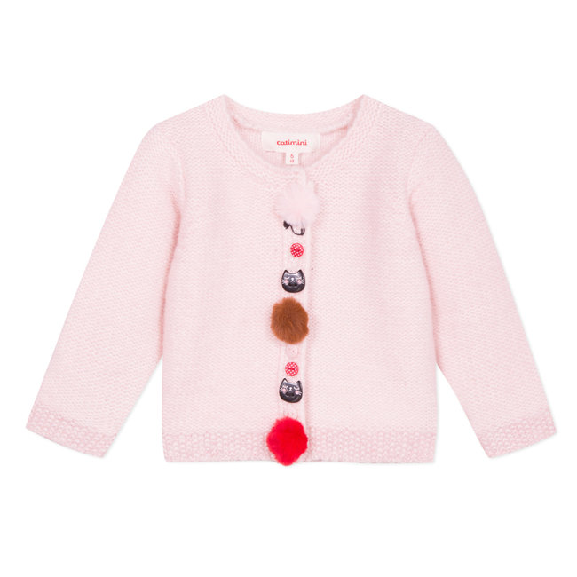Petal pink knitted cardigan with decorative buttons