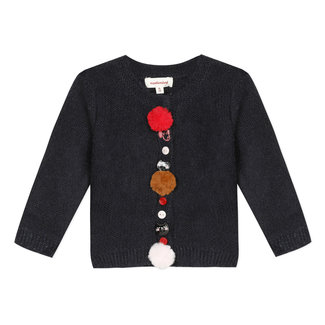 Midnight blue knitted cardigan with decorative buttons