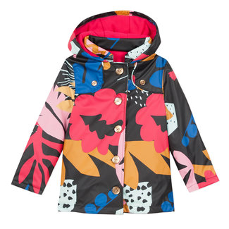 Rubber raincoat with a large floral pattern
