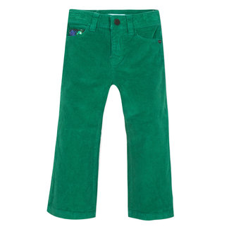 Boxwood green flared valvet trousers