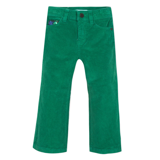 CATIMINI Boxwood green flared velvet trousers