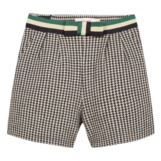 Tubular knit houndstooth shorts