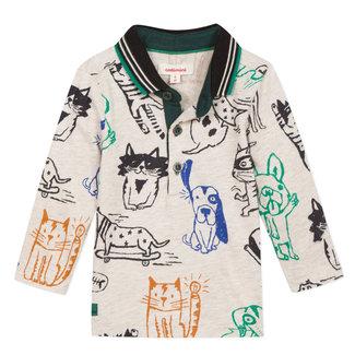 Dog & cat print jersey polo