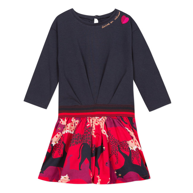 Two-material skirt with jersey over a panther-printed percale