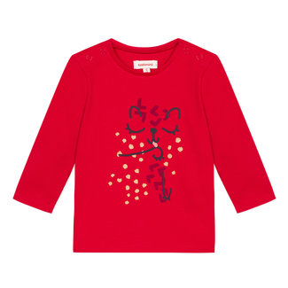 Red T-shirt with a smiley-faced panther motif