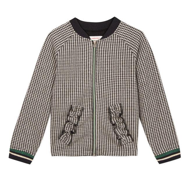 CATIMINI Tubular knit houndstooth teddy jacket