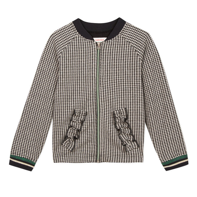 Tubular knit houndstooth teddy jacket