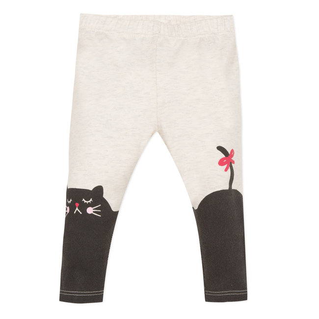 Mottled leggings with a cat motif