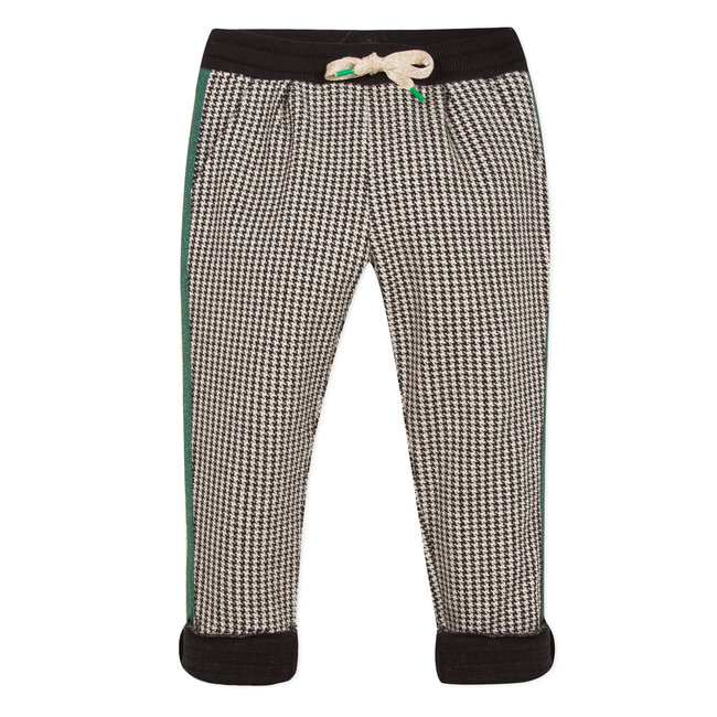 Tubular knit houndstooth trousers