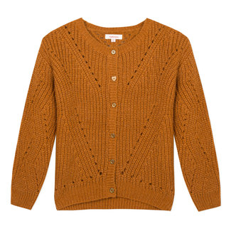 Large gilet in a caramel open knit
