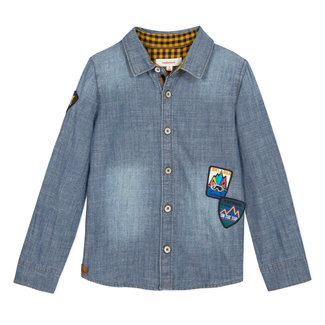 CATIMINI Light denim shirt with woven badges
