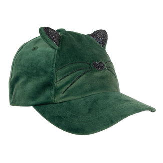 Cat cap in bottle green velvet