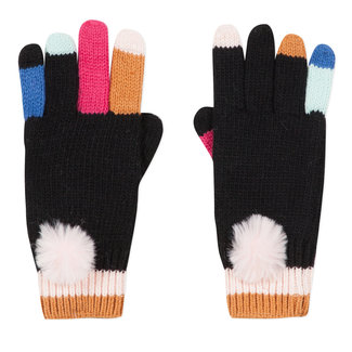 Black knitted gloves with colourful fingers