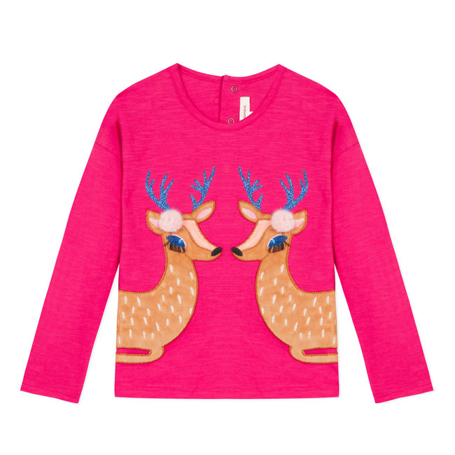 CATIMINI T-shirt with velvet deer patches