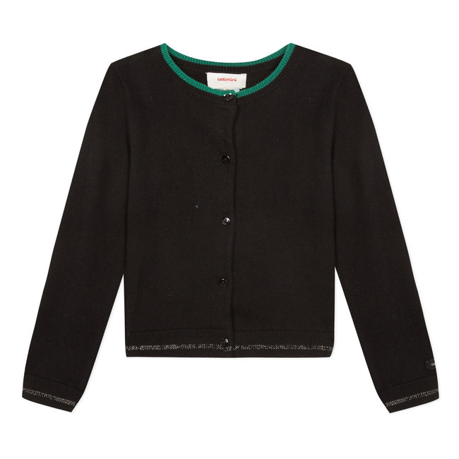 Black knitted cardigan with embroidery on the back