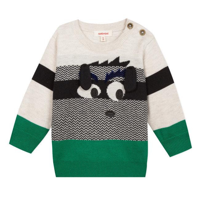 Dog motif and colour herringbone pullover