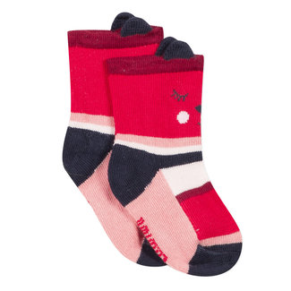 Striped red socks with a smiley face jacquard