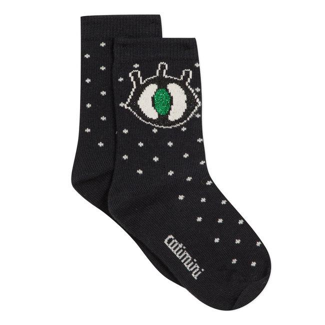 Cat's eye jacquard socks
