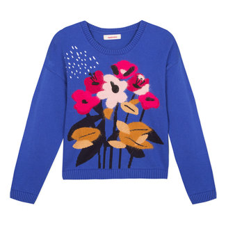 Royal blue pullover with floral pattern