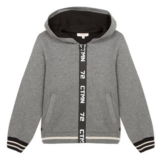 Double-sided zipped hooded cardigan