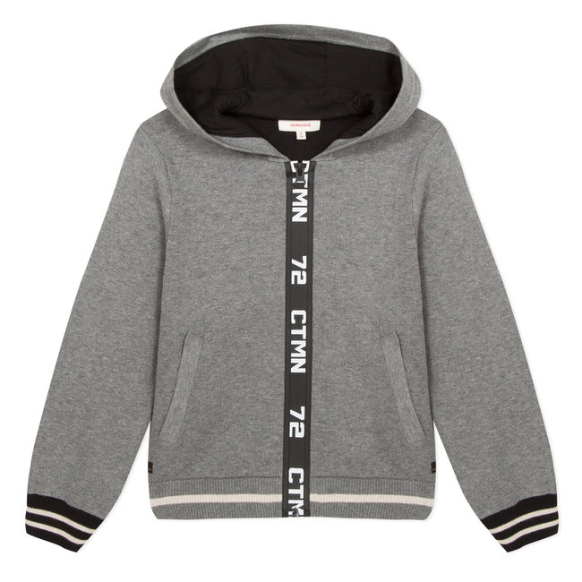 Grey zipper hooded cardigan