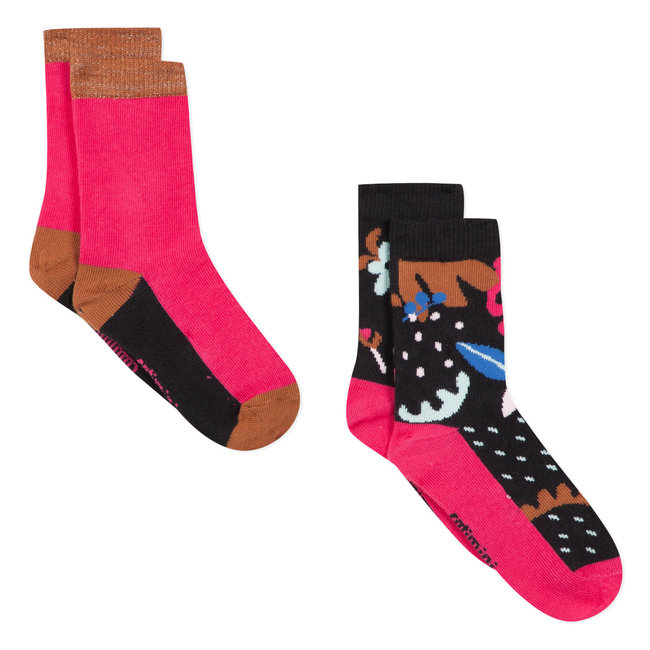 Set of 2 pairs of floral jacquard socks