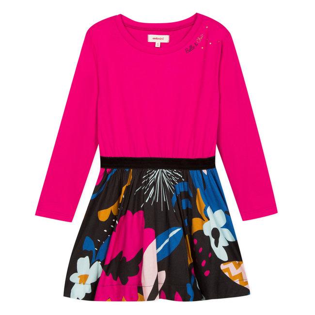 Bi-material jersey and viscose floral dress
