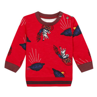 Astronaut tiger printed slub fleece sweatshirt
