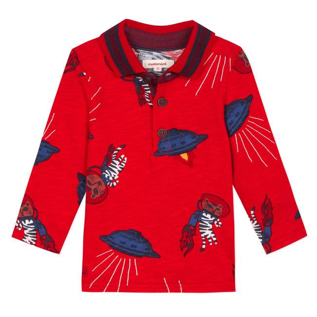 CATIMINI Astronaut tiger printed slub jersey polo