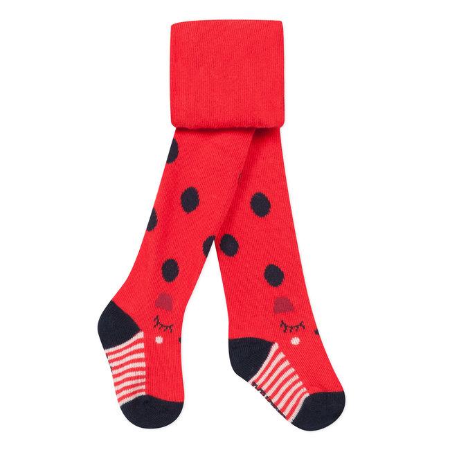 Plain red and polka dot tights