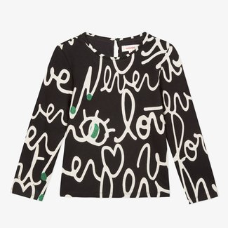 Calligraphy printed fleece T-shirt
