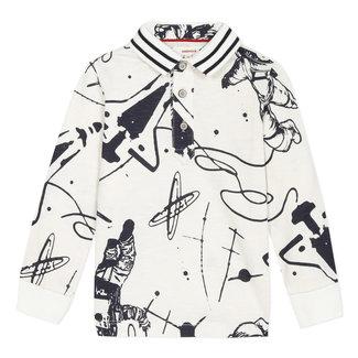 Space mission printed slub jersey polo