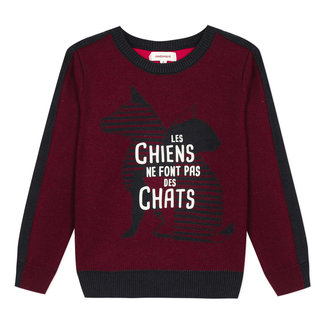 CATIMINI Black and white cats and dogs jumper
