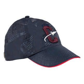Canvas cap with embroidered badge