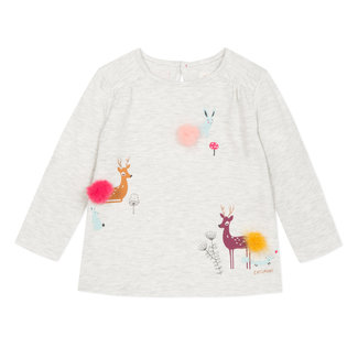 Heather T-shirt with deer motif and pompoms