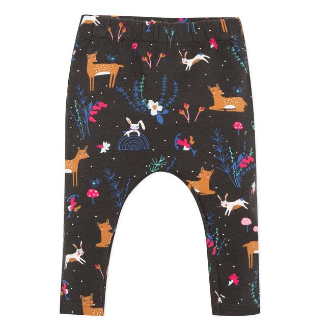 Deer print fleece neo-jogging bottoms