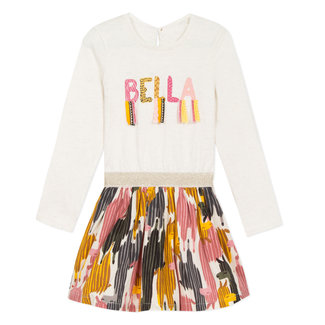 Bi-material dress with message on graphic llama print crepe