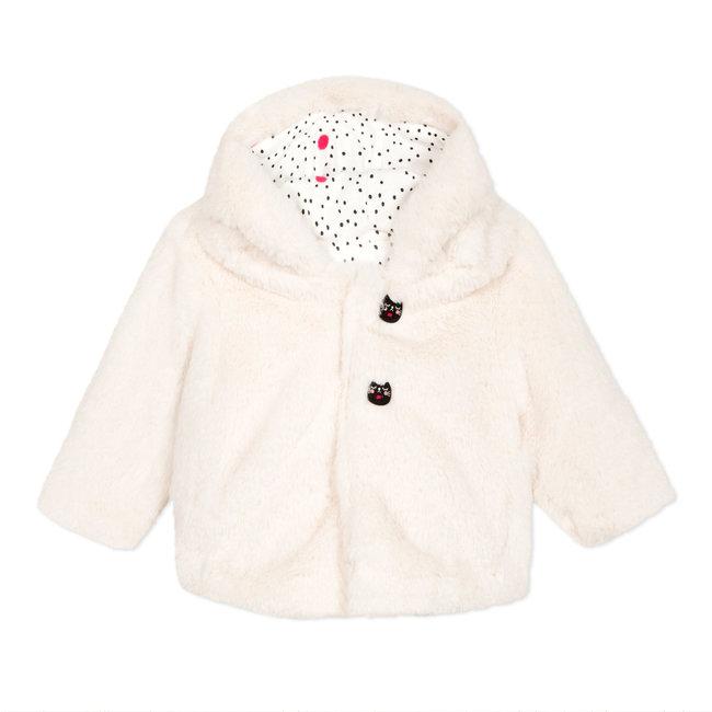 Newborn jacket in micro-fur snow