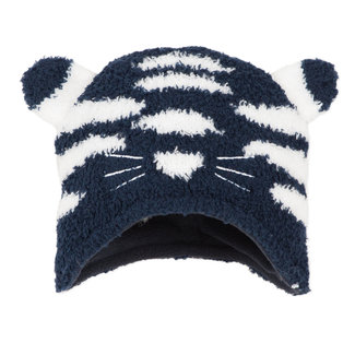 Sparkling knitted hat with face motif
