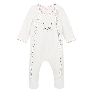 Velvet terry snow white ruffle pyjamas with cat motif