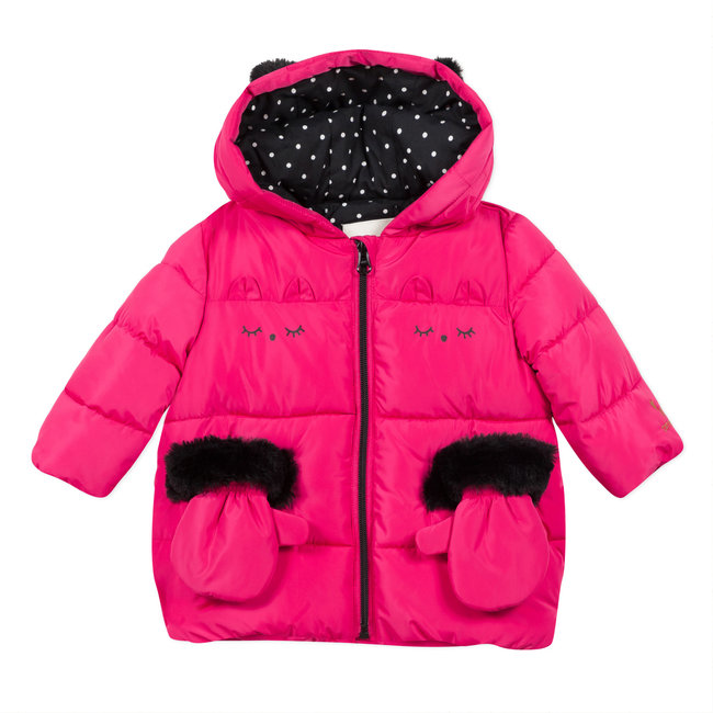 Fuchsia puffa jacket with hood and mittens