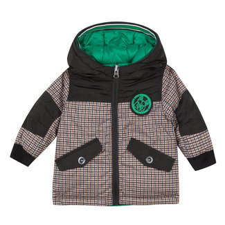 Reversible green lichen parka with houndstooth pattern