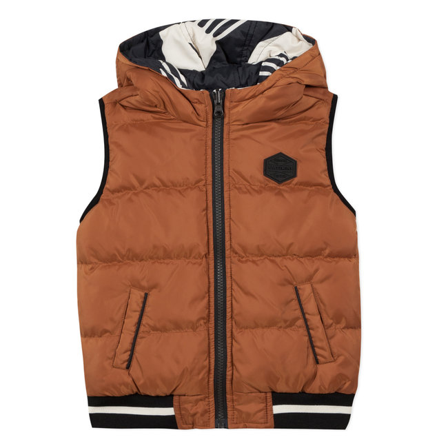 Reversible puffa bodywarmer with graphic print