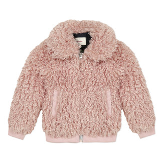 Bomber jacket in pink faux sheepskin