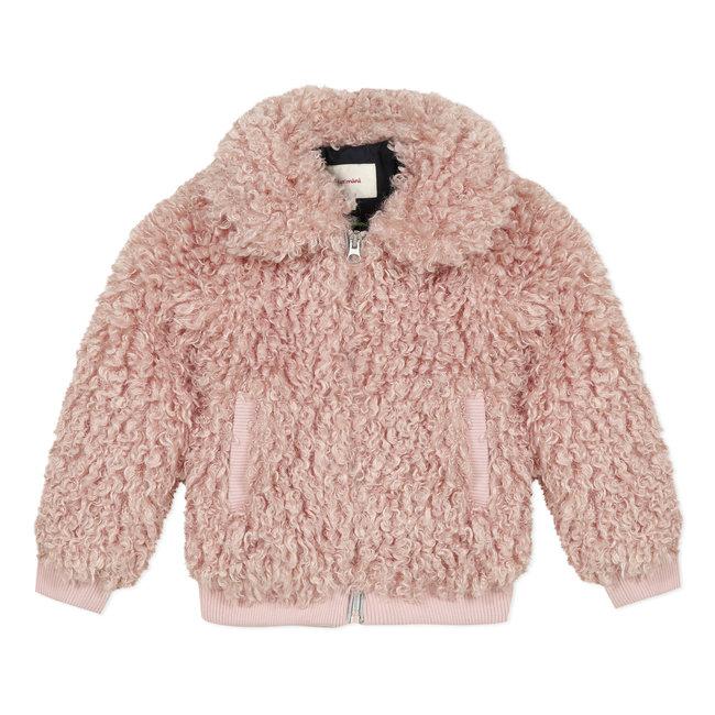 Bomber jacket in pink faux sheepskin