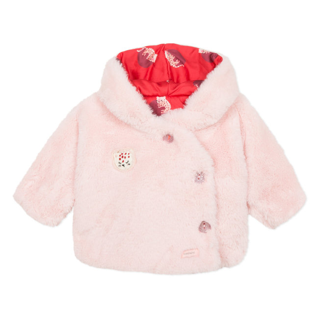 Reversible pink fur and mini panther printed satin jacket