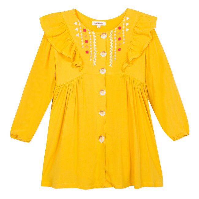 Yellow viscose dress with ruffles and embroidery